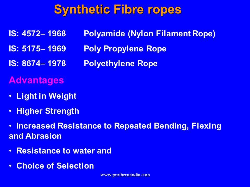 Synthetic Fibre ropes IS: 4572– 1968Polyamide (Nylon Filament Rope) IS: 5175– 1969Poly Propylene Rope IS: 8674– 1978Polyethylene Rope Advantages Light