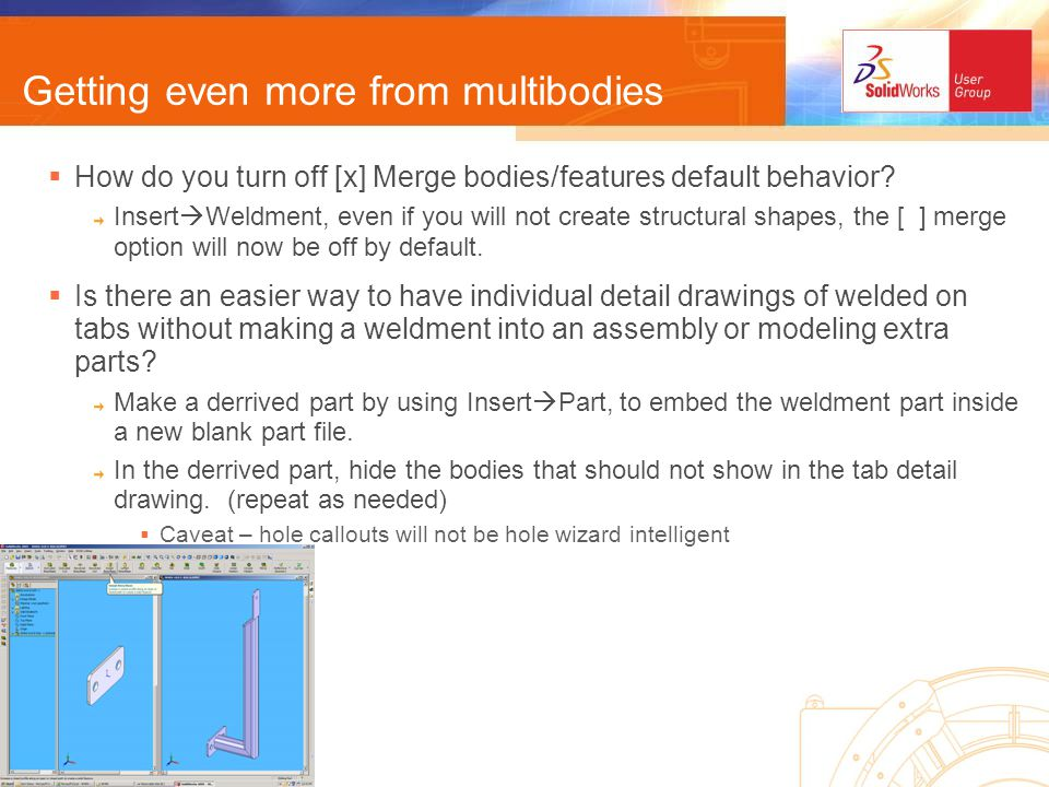 Getting even more from multibodies How do you turn off [x] Merge bodies/features default behavior.