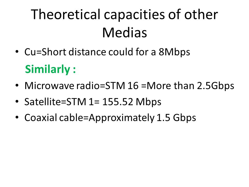 Theoretical capacities of other Medias Cu=Short distance could for a 8Mbps Similarly : Microwave radio=STM 16 =More than 2.5Gbps Satellite=STM 1= 155.52 Mbps Coaxial cable=Approximately 1.5 Gbps