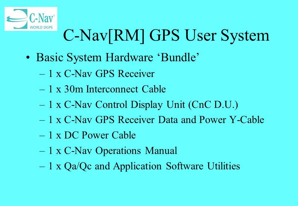 C-Nav[RM] GPS System Options Options –15m Interconnect Cable –60m Interconnect Cable –Universal a.c.