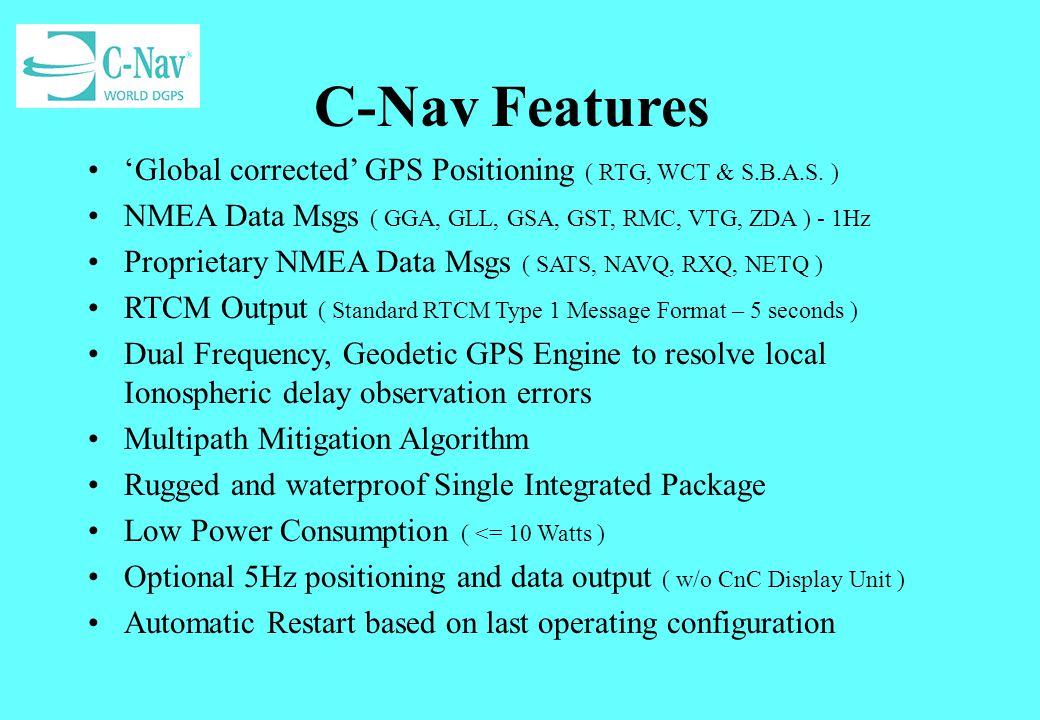 Example SA Plots May 2000 Mode: Autonomous - L1 Period: 30mins 95% ~ 47.2 meters Mode: DGPS - L1 Period: 52mins 95% ~ 0.5 meters