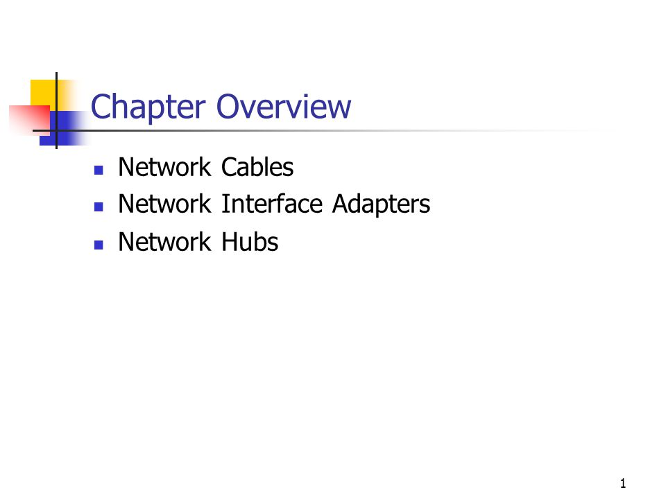 1 Chapter Overview Network Cables Network Interface Adapters Network Hubs