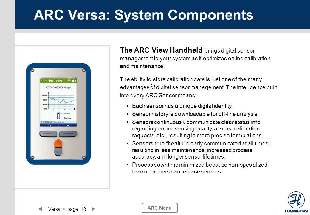 Versa page 13 ARC Menu ARC Versa: System Components The ARC View Handheld brings digital sensor management to your system as it optimizes online calib