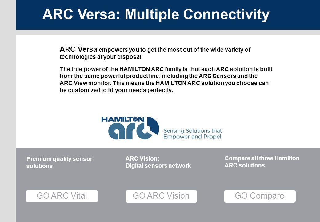 Versa page 15 ARC Menu GO Compare Compare all three Hamilton ARC solutions GO ARC Vision ARC Vision: Digital sensors network GO ARC Vital Premium qual