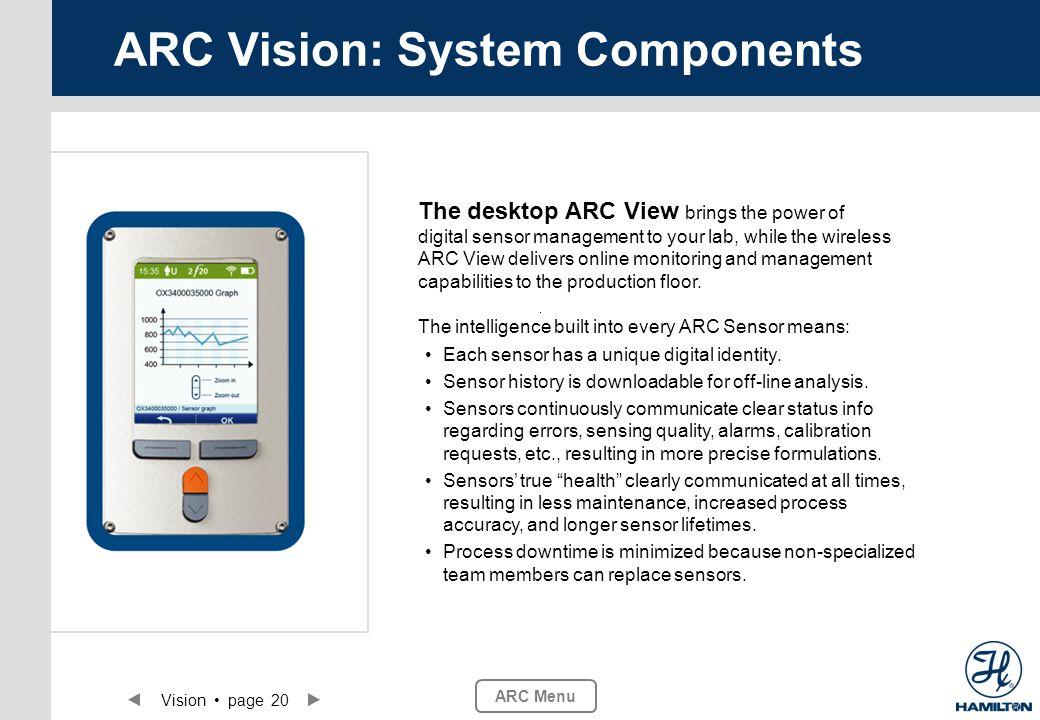 Vision page 20 ARC Menu ARC Vision: System Components Each sensor has a unique digital identity. Sensor history is downloadable for off-line analysis.