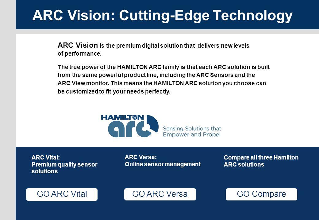 Versa page 22 ARC Menu GO Compare Compare all three Hamilton ARC solutions GO ARC Vital ARC Vital: Premium quality sensor solutions GO ARC Versa ARC V