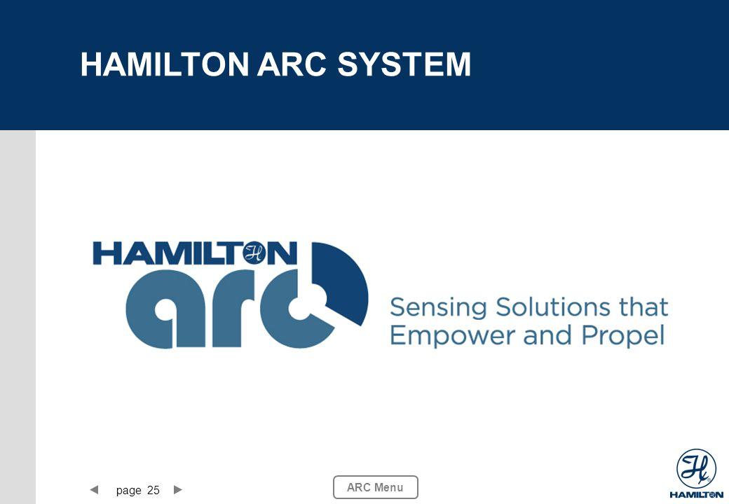 page 25 ARC Menu HAMILTON ARC SYSTEM