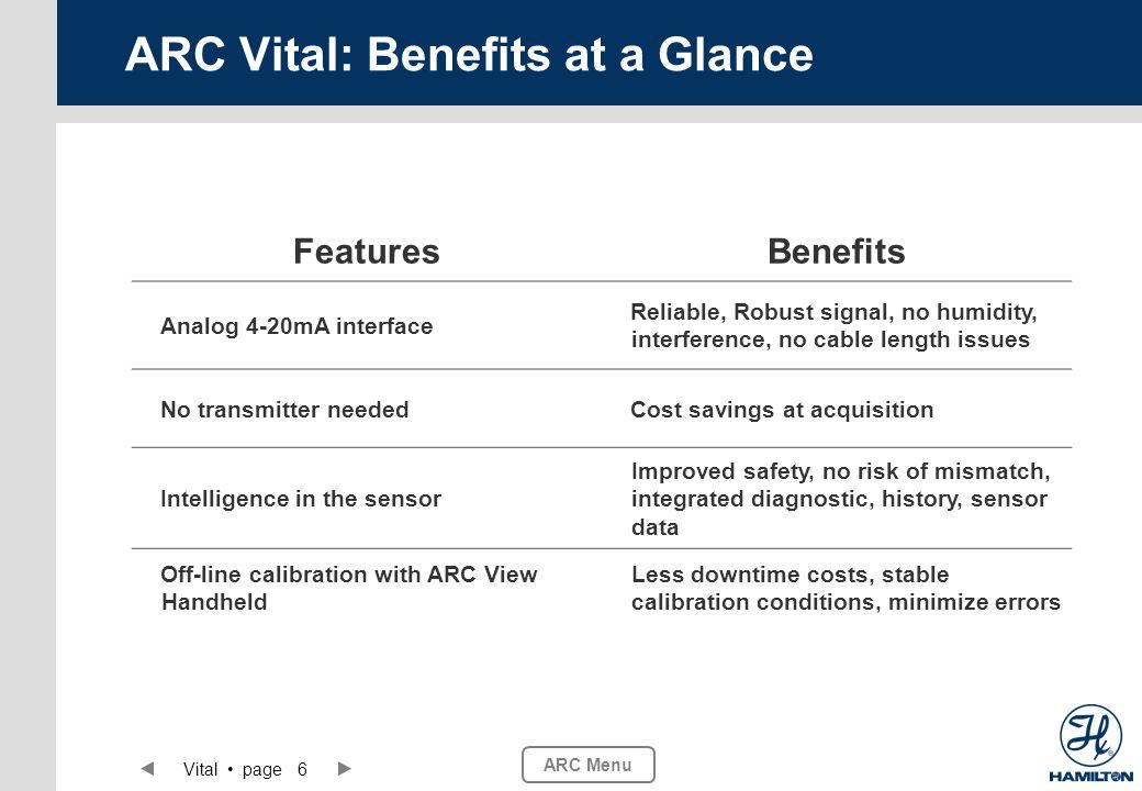 ARC Menu Vital page 6 ARC Vital: Benefits at a Glance FeaturesBenefits Analog 4-20mA interface Reliable, Robust signal, no humidity, interference, no