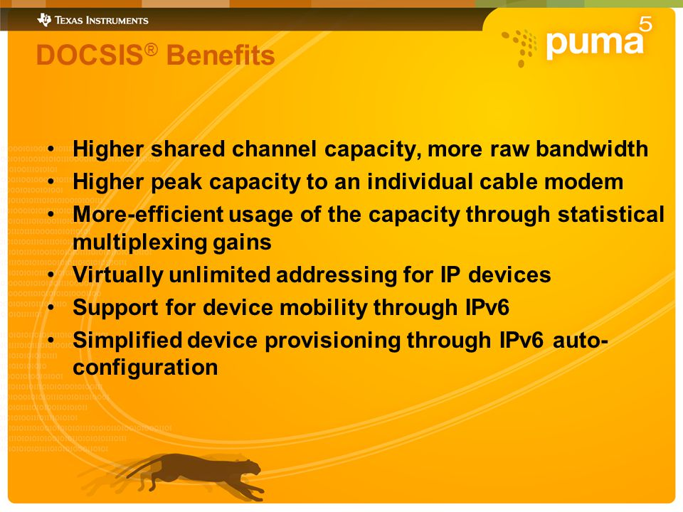 DOCSIS ® Benefits Higher shared channel capacity, more raw bandwidth Higher peak capacity to an individual cable modem More-efficient usage of the capacity through statistical multiplexing gains Virtually unlimited addressing for IP devices Support for device mobility through IPv6 Simplified device provisioning through IPv6 auto- configuration
