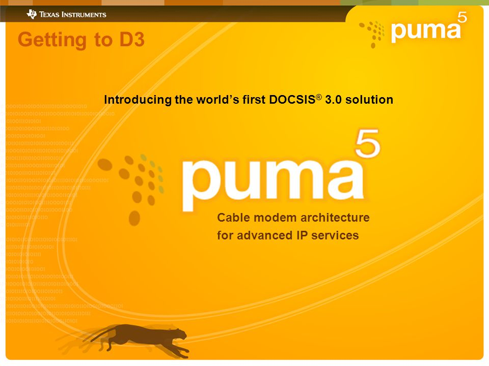 Getting to D3 Introducing the worlds first DOCSIS ® 3.0 solution Cable modem architecture for advanced IP services