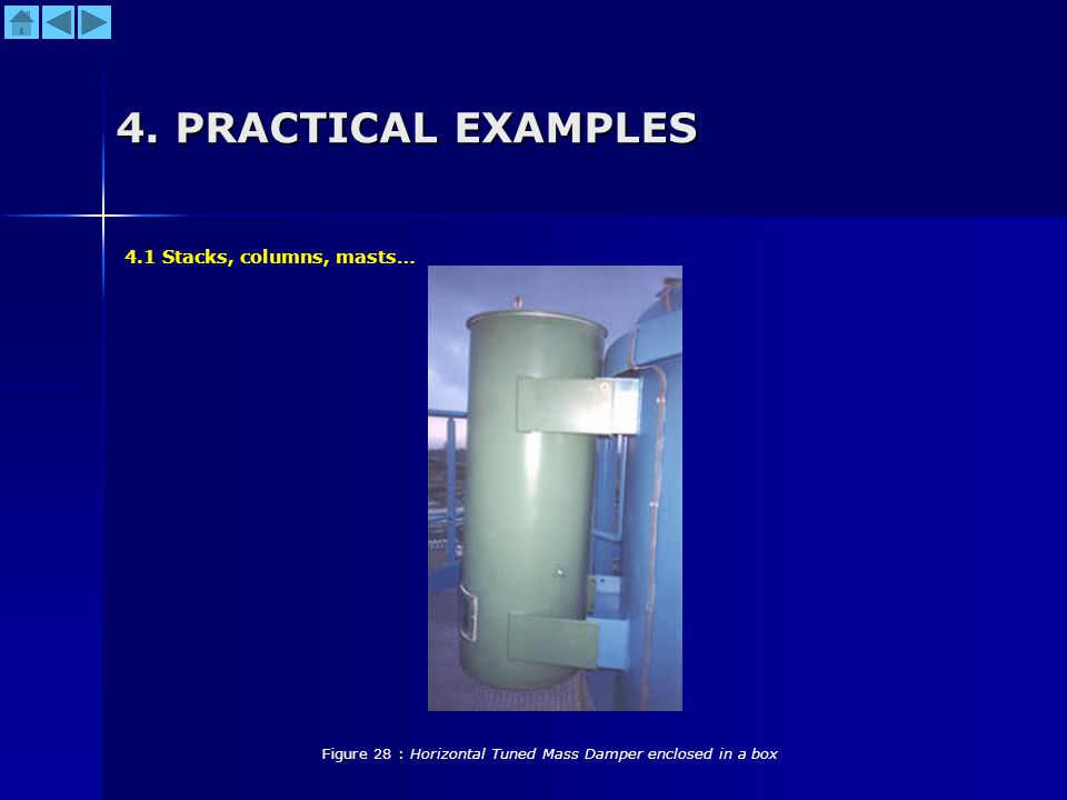 4. PRACTICAL EXAMPLES Figure 28 : Horizontal Tuned Mass Damper enclosed in a box 4.1 Stacks, columns, masts…