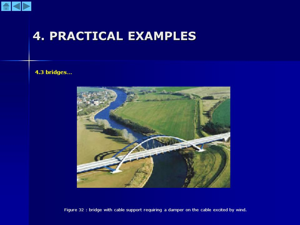 4. PRACTICAL EXAMPLES Figure 32 : bridge with cable support requiring a damper on the cable excited by wind. 4.3 bridges…