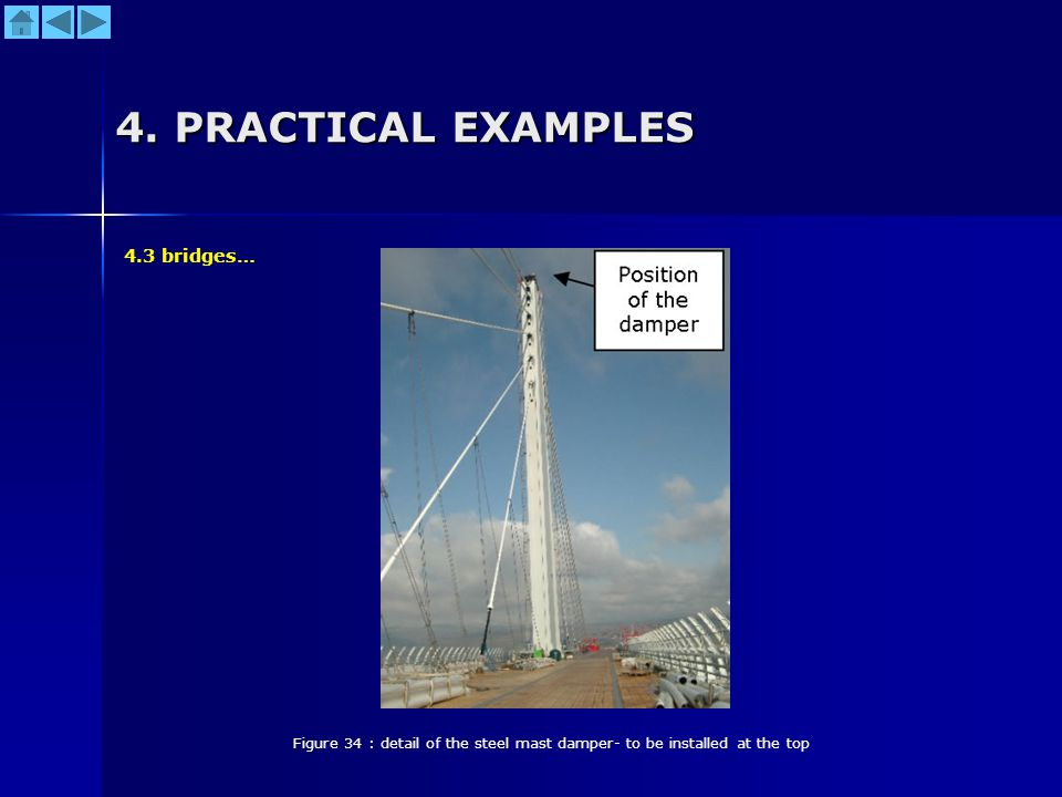 4. PRACTICAL EXAMPLES Figure 34 : detail of the steel mast damper- to be installed at the top 4.3 bridges…