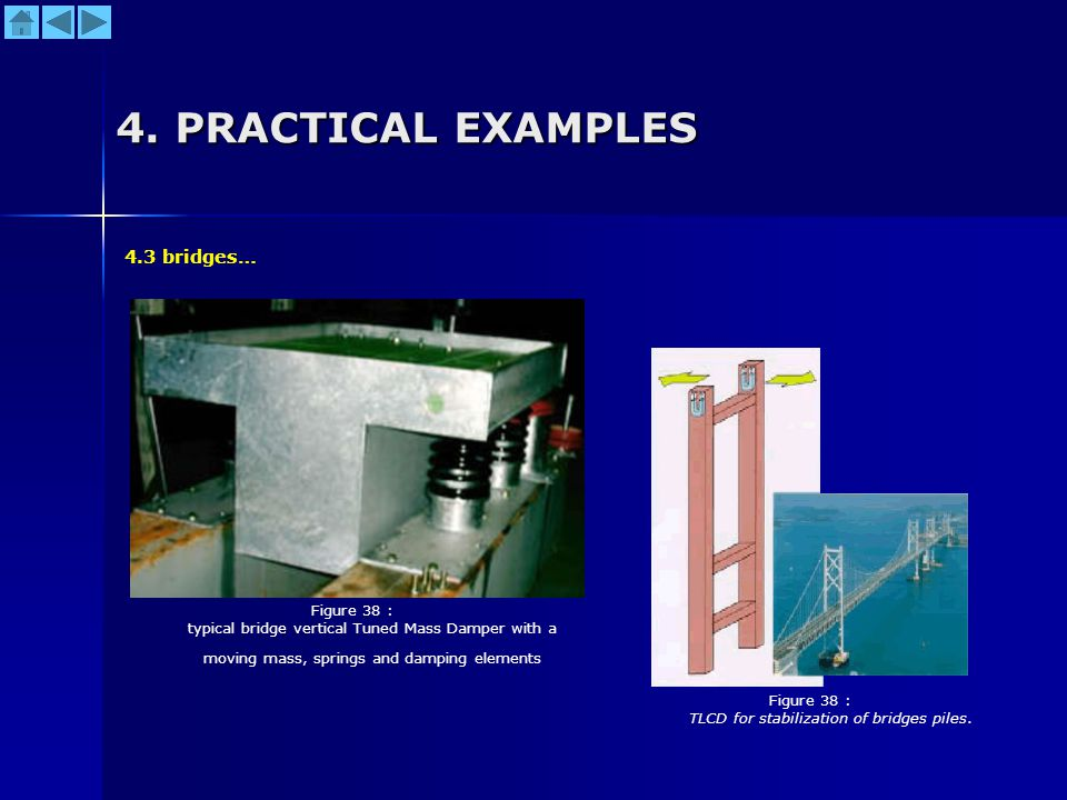 4. PRACTICAL EXAMPLES Figure 38 : typical bridge vertical Tuned Mass Damper with a moving mass, springs and damping elements 4.3 bridges… Figure 38 :