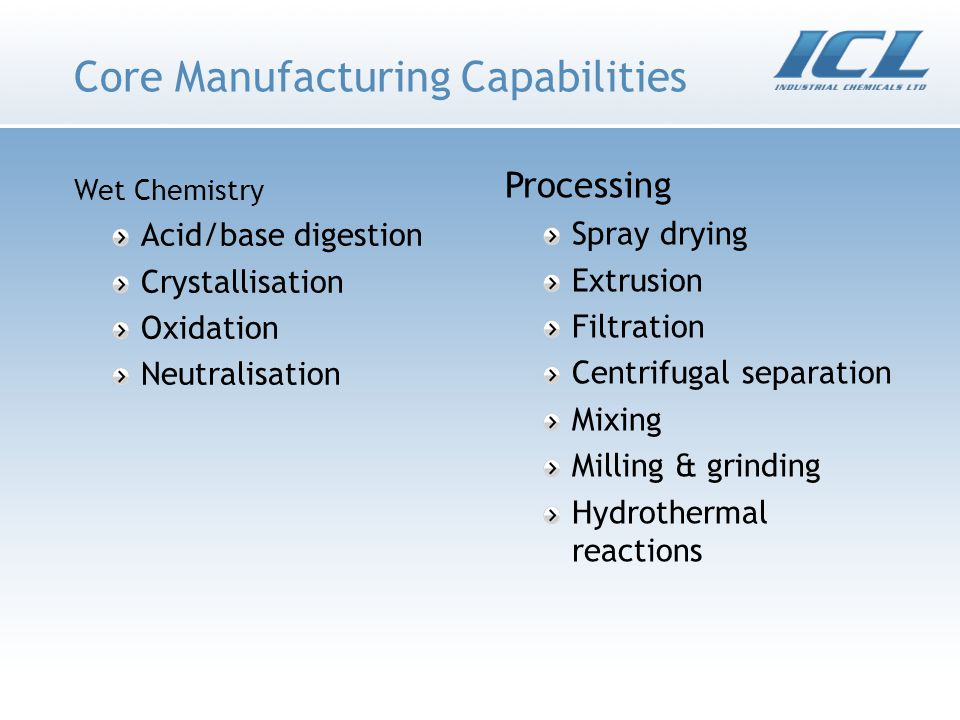 Core Manufacturing Capabilities Wet Chemistry Acid/base digestion Crystallisation Oxidation Neutralisation Processing Spray drying Extrusion Filtration Centrifugal separation Mixing Milling & grinding Hydrothermal reactions