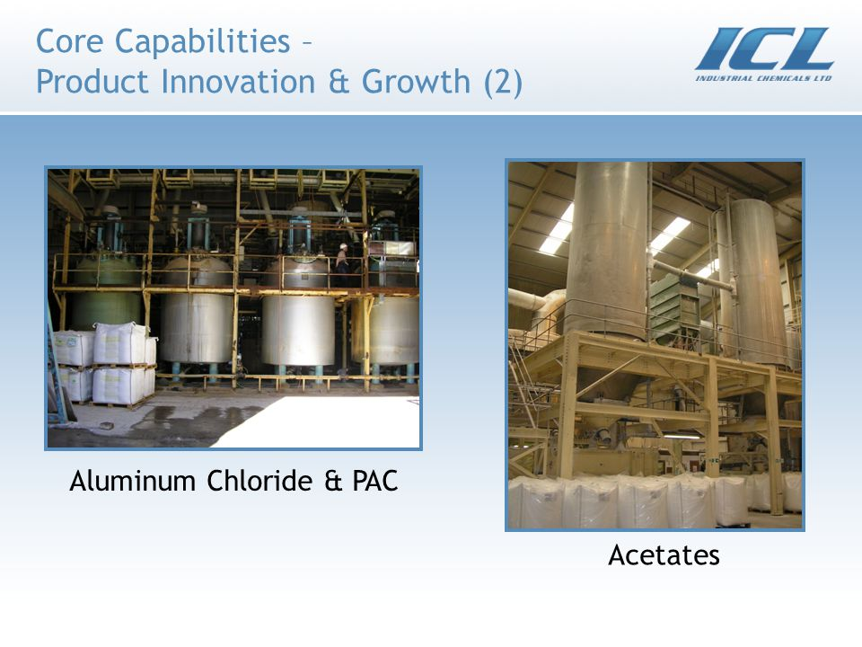 Core Capabilities – Product Innovation & Growth (2) Aluminum Chloride & PAC Acetates