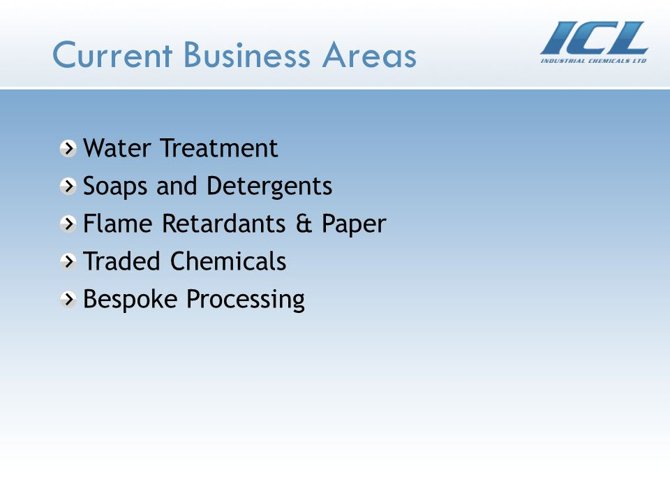 Current Business Areas Water Treatment Soaps and Detergents Flame Retardants & Paper Traded Chemicals Bespoke Processing