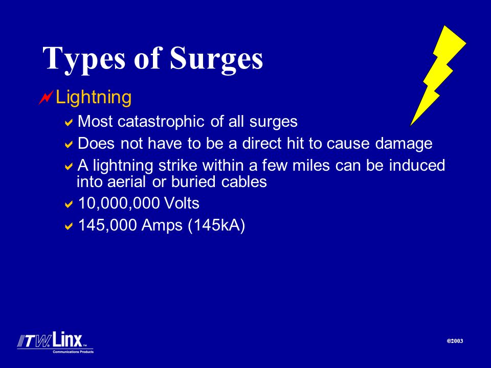©2003 Types of Surges Lightning Most catastrophic of all surges Does not have to be a direct hit to cause damage A lightning strike within a few miles can be induced into aerial or buried cables 10,000,000 Volts 145,000 Amps (145kA)