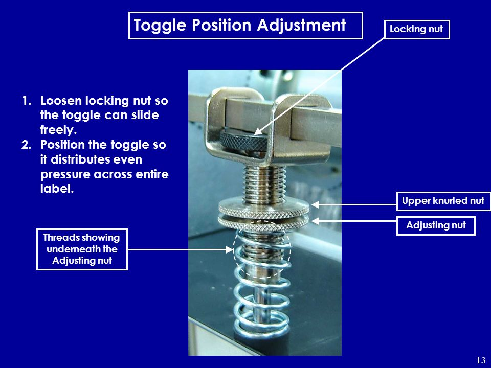 13 Toggle Position Adjustment 1.Loosen locking nut so the toggle can slide freely. 2.Position the toggle so it distributes even pressure across entire