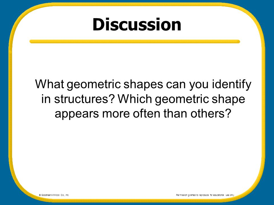 Discussion What geometric shapes can you identify in structures? Which geometric shape appears more often than others? © Goodheart-Willcox Co., Inc.Pe