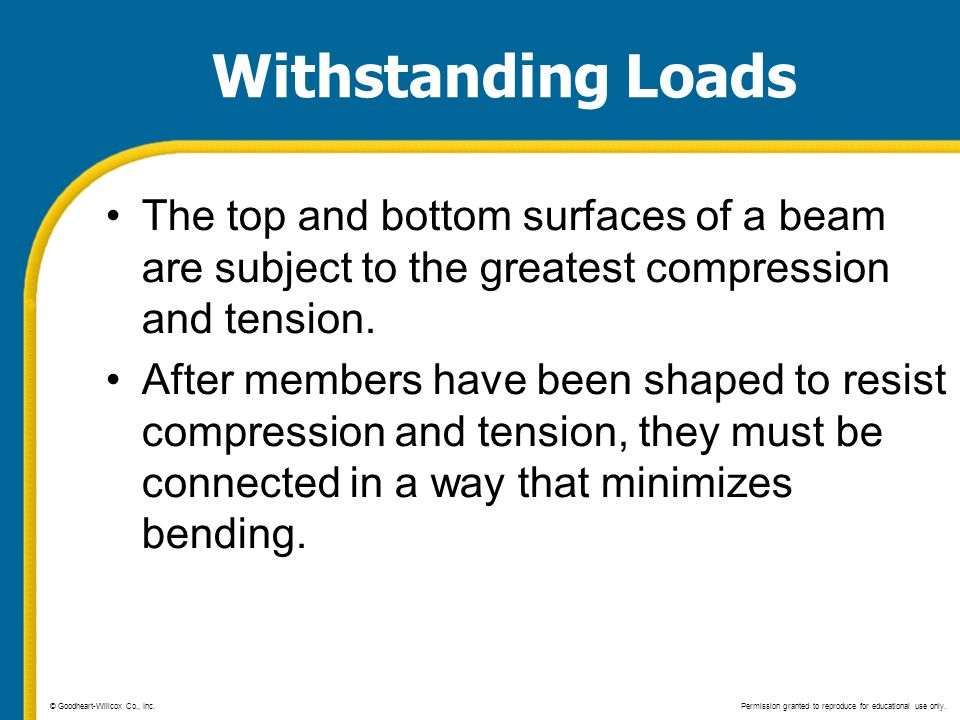 Withstanding Loads The top and bottom surfaces of a beam are subject to the greatest compression and tension. After members have been shaped to resist