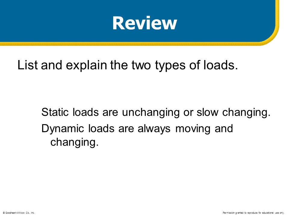 Review List and explain the two types of loads. Static loads are unchanging or slow changing. Dynamic loads are always moving and changing. © Goodhear