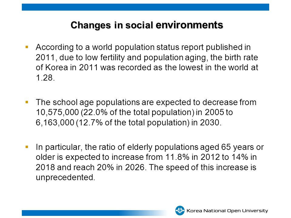 Changes in social environments Changes in social environments According to a world population status report published in 2011, due to low fertility and population aging, the birth rate of Korea in 2011 was recorded as the lowest in the world at 1.28.