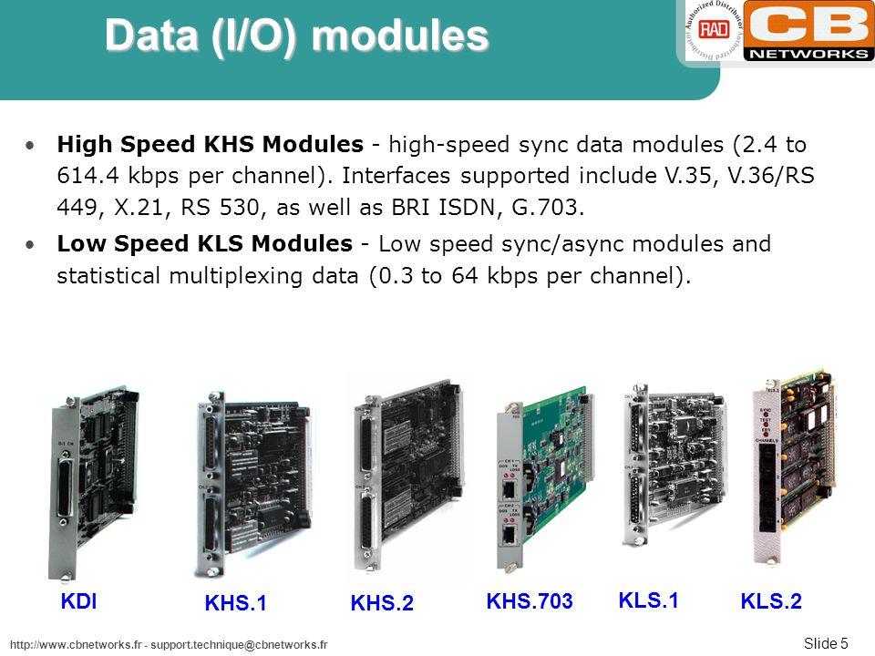 Slide 5 http://www.cbnetworks.fr - support.technique@cbnetworks.fr Data (I/O) modules High Speed KHS Modules - high-speed sync data modules (2.4 to 614.4 kbps per channel).