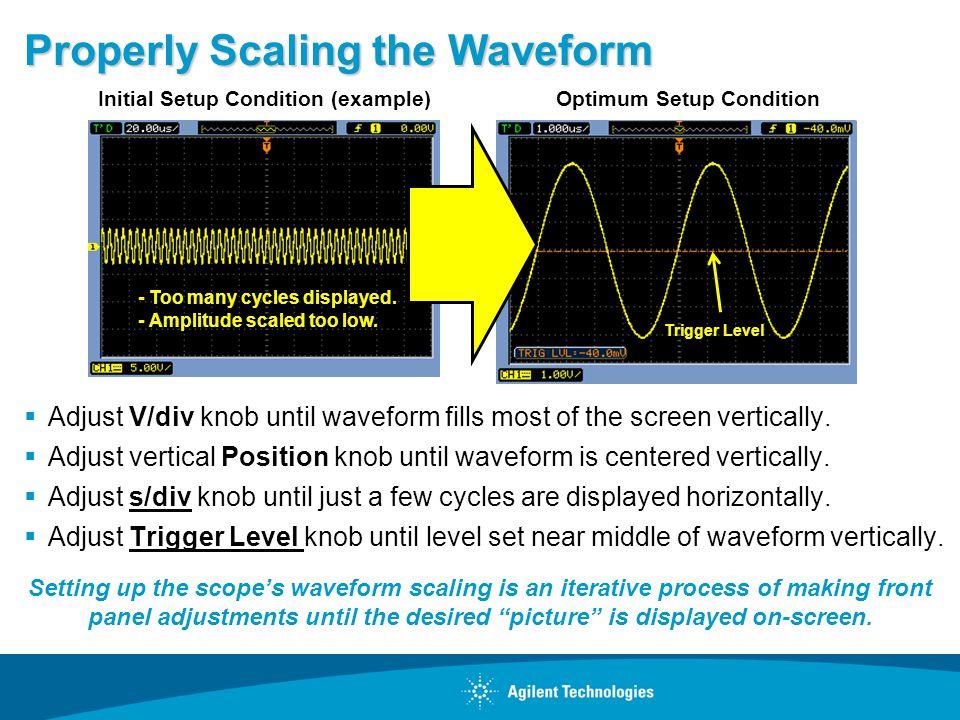 Properly Scaling the Waveform Adjust V/div knob until waveform fills most of the screen vertically. Adjust vertical Position knob until waveform is ce