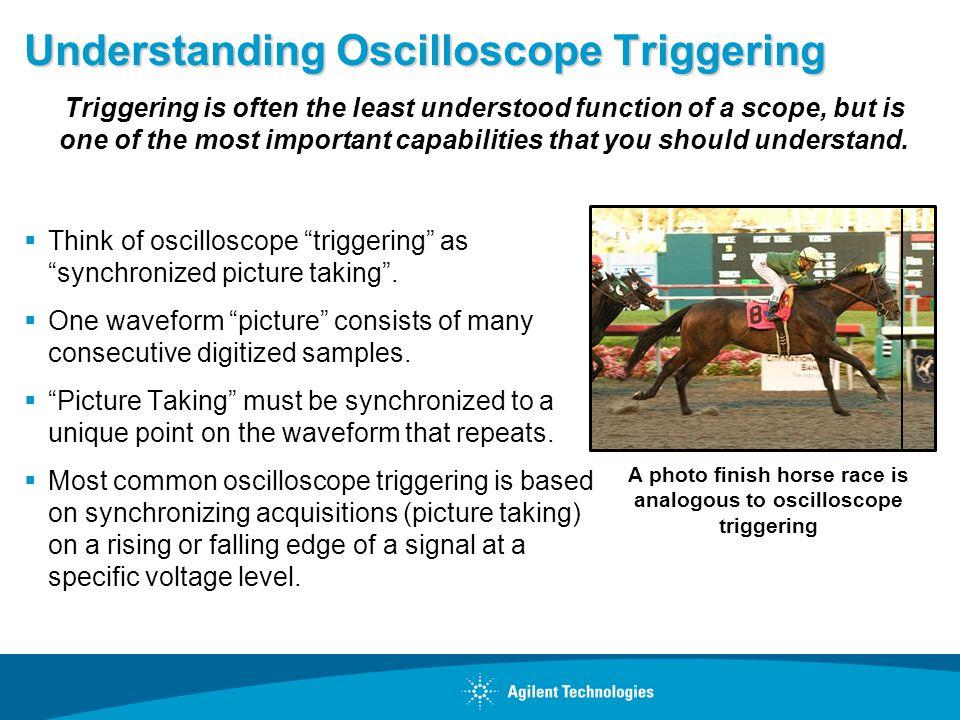Understanding Oscilloscope Triggering Think of oscilloscope triggering as synchronized picture taking.