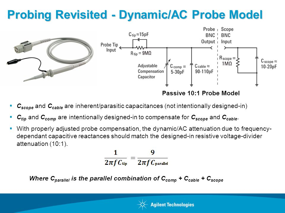 Probing Revisited - Dynamic/AC Probe Model C scope and C cable are inherent/parasitic capacitances (not intentionally designed-in) C tip and C comp are intentionally designed-in to compensate for C scope and C cable.