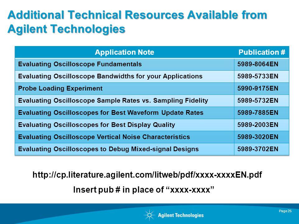 Additional Technical Resources Available from Agilent Technologies Page 25 http://cp.literature.agilent.com/litweb/pdf/xxxx-xxxxEN.pdf Insert pub # in place of xxxx-xxxx