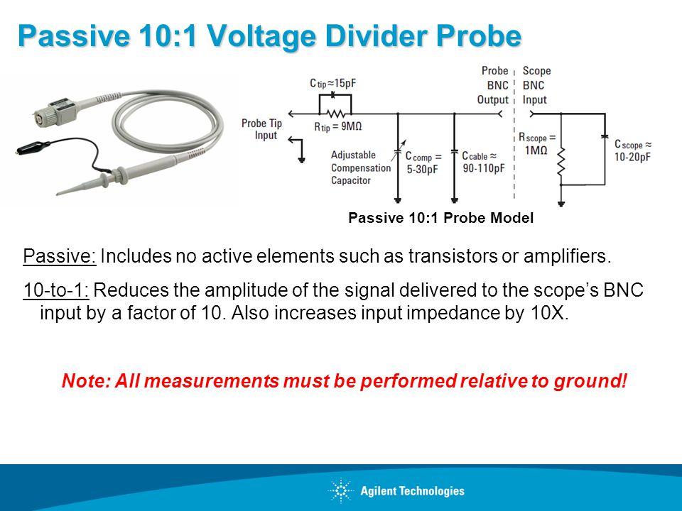 Passive 10:1 Voltage Divider Probe Passive: Includes no active elements such as transistors or amplifiers.