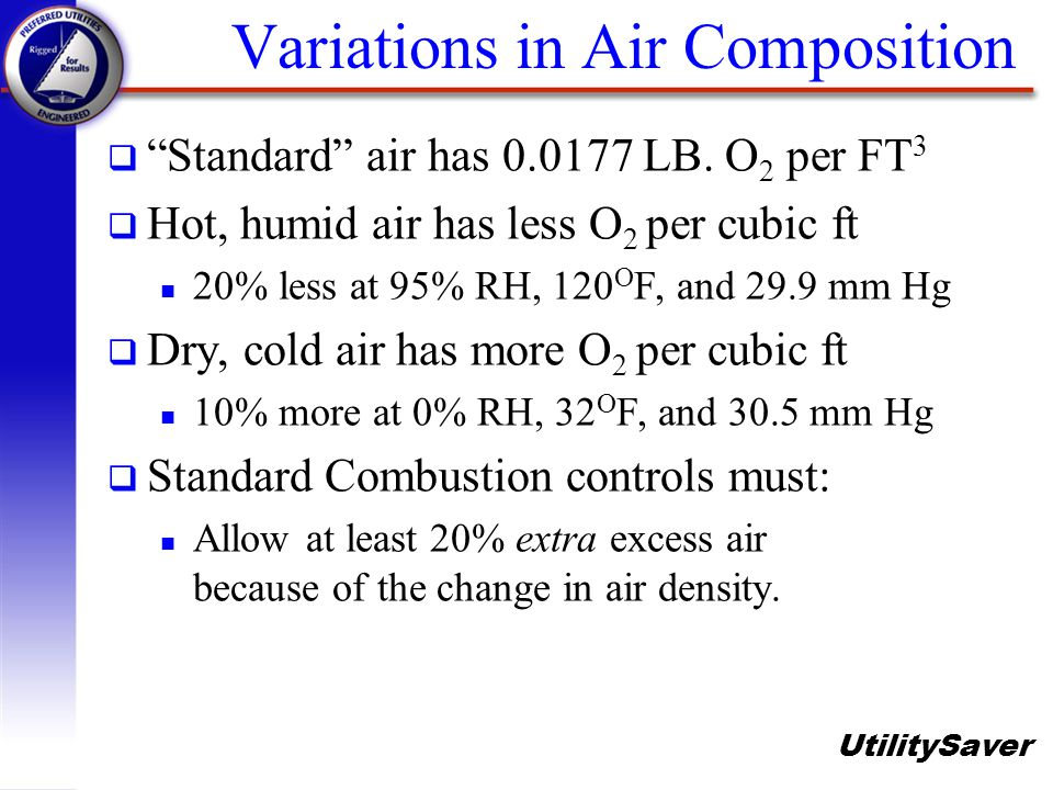 UtilitySaver Variations in Air Composition q Standard air has 0.0177 LB. O 2 per FT 3 q Hot, humid air has less O 2 per cubic ft n 20% less at 95% RH,