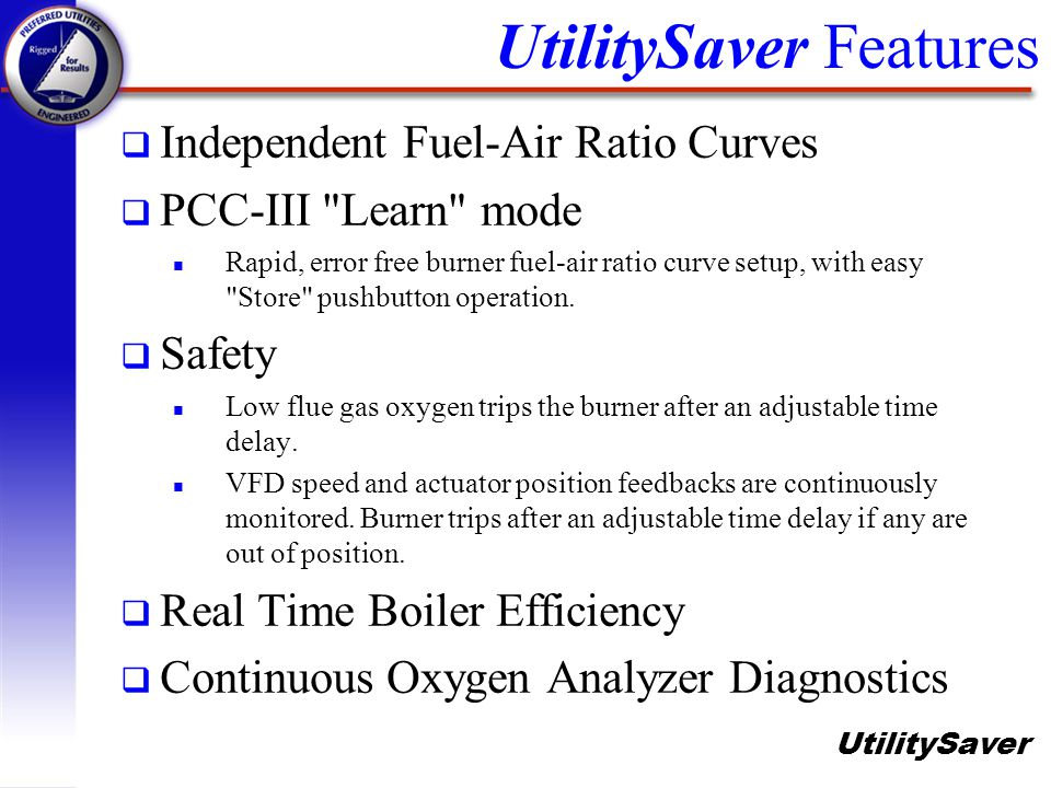 UtilitySaver q Independent Fuel-Air Ratio Curves q PCC-III