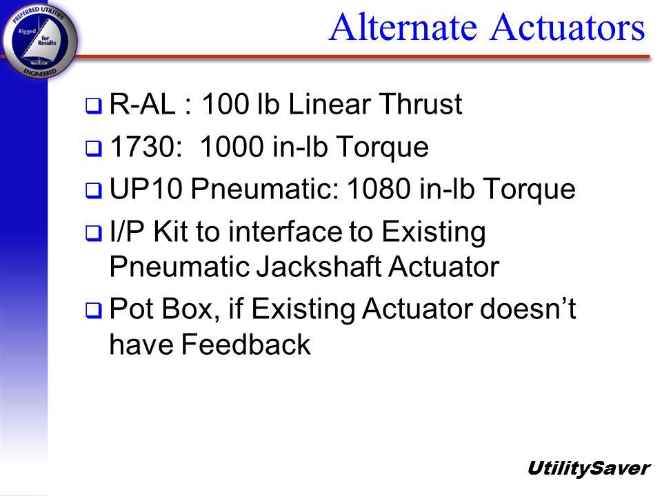 UtilitySaver Alternate Actuators q R-AL : 100 lb Linear Thrust q 1730: 1000 in-lb Torque q UP10 Pneumatic: 1080 in-lb Torque q I/P Kit to interface to