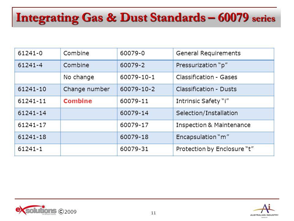 © 2009 Integrating Gas & Dust Standards – 60079 series 61241-0Combine60079-0General Requirements 61241-4Combine60079-2Pressurization p No change60079-