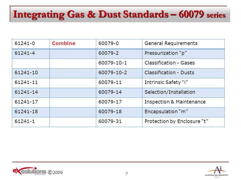 © 2009 Integrating Gas & Dust Standards – 60079 series 61241-0Combine60079-0General Requirements 61241-460079-2Pressurization p 60079-10-1Classificati