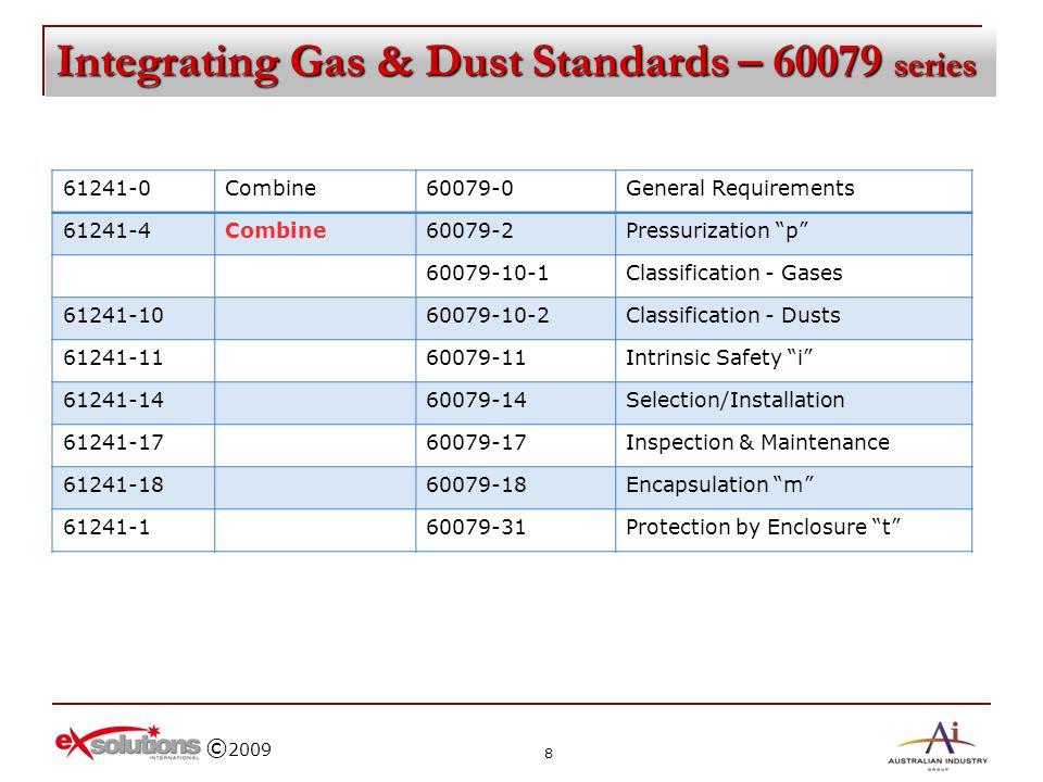 © 2009 Integrating Gas & Dust Standards – 60079 series 61241-0Combine60079-0General Requirements 61241-4Combine60079-2Pressurization p 60079-10-1Class