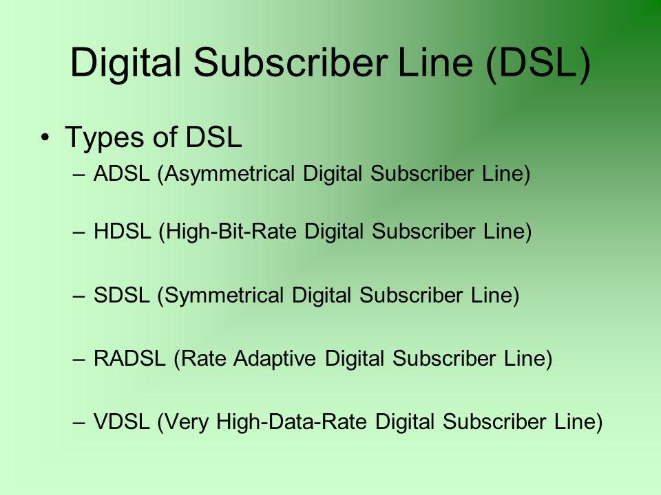 Digital Subscriber Line (DSL) Types of DSL –ADSL (Asymmetrical Digital Subscriber Line) –HDSL (High-Bit-Rate Digital Subscriber Line) –SDSL (Symmetrical Digital Subscriber Line) –RADSL (Rate Adaptive Digital Subscriber Line) –VDSL (Very High-Data-Rate Digital Subscriber Line)
