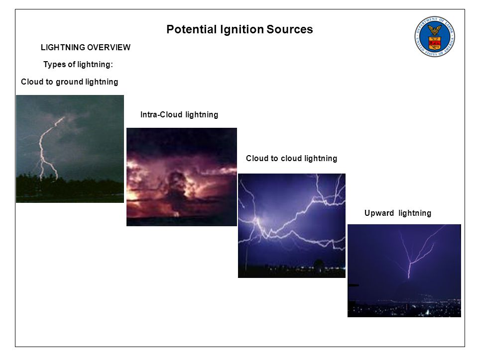 Potential Ignition Sources LIGHTNING OVERVIEW Types of lightning: Cloud to ground lightning Intra-Cloud lightning Cloud to cloud lightning Upward lightning