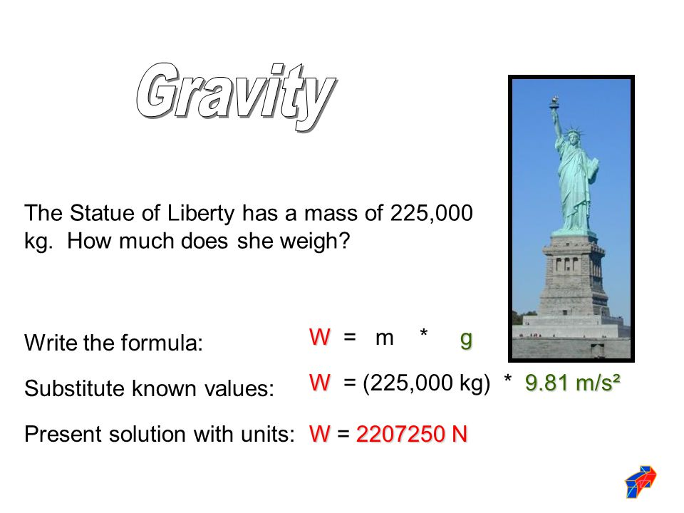 The Statue of Liberty has a mass of 225,000 kg. How much does she weigh? Wg W = m * g Write the formula: Substitute known values: W9.81 m/s² W = (225,