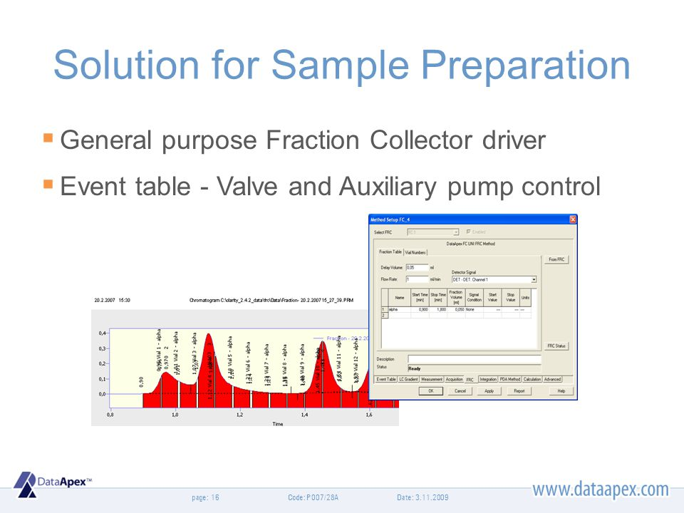 page: Solution for Sample Preparation General purpose Fraction Collector driver Event table - Valve and Auxiliary pump control Date: 3.11.200916Code: