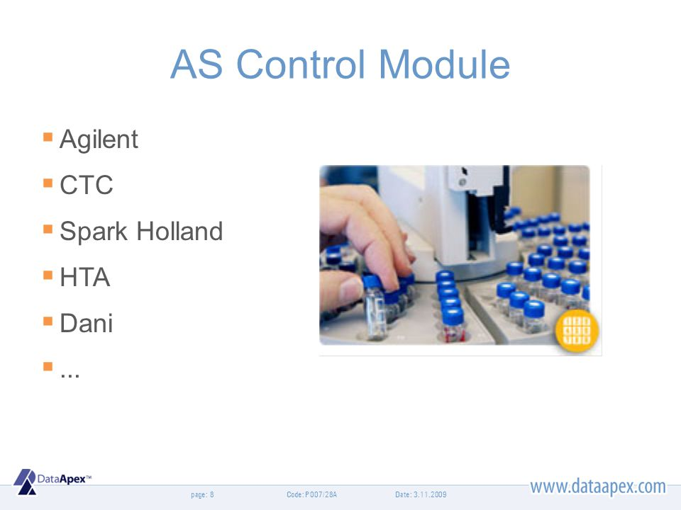 page: AS Control Module Agilent CTC Spark Holland HTA Dani... Date: 3.11.20098Code: P007/28A