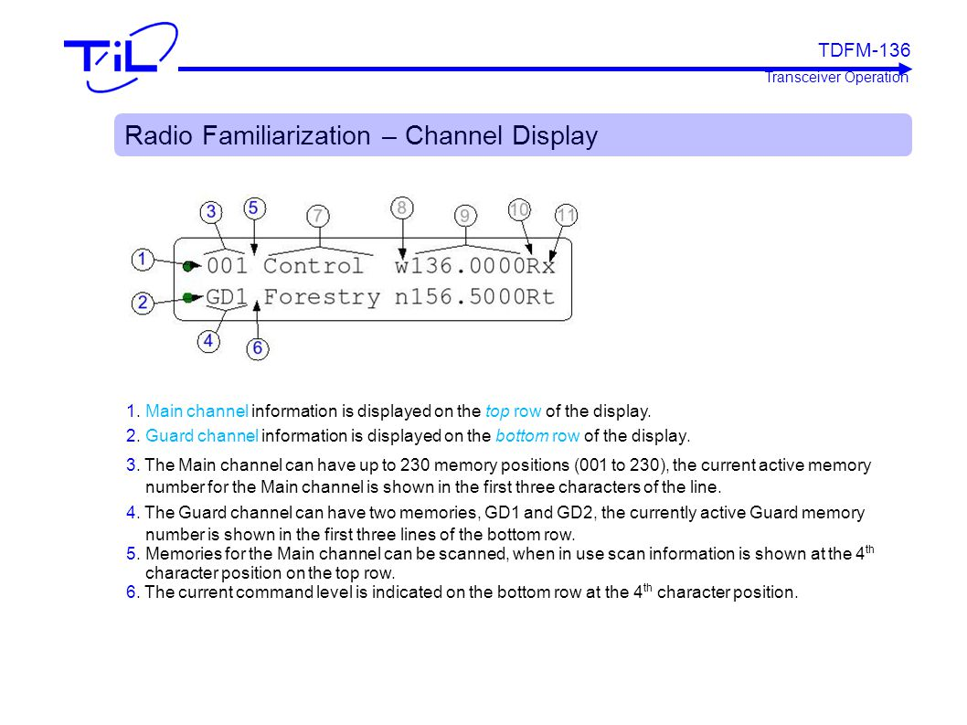 Radio Familiarization – Channel Display 1. Main channel information is displayed on the top row of the display. 2. Guard channel information is displa