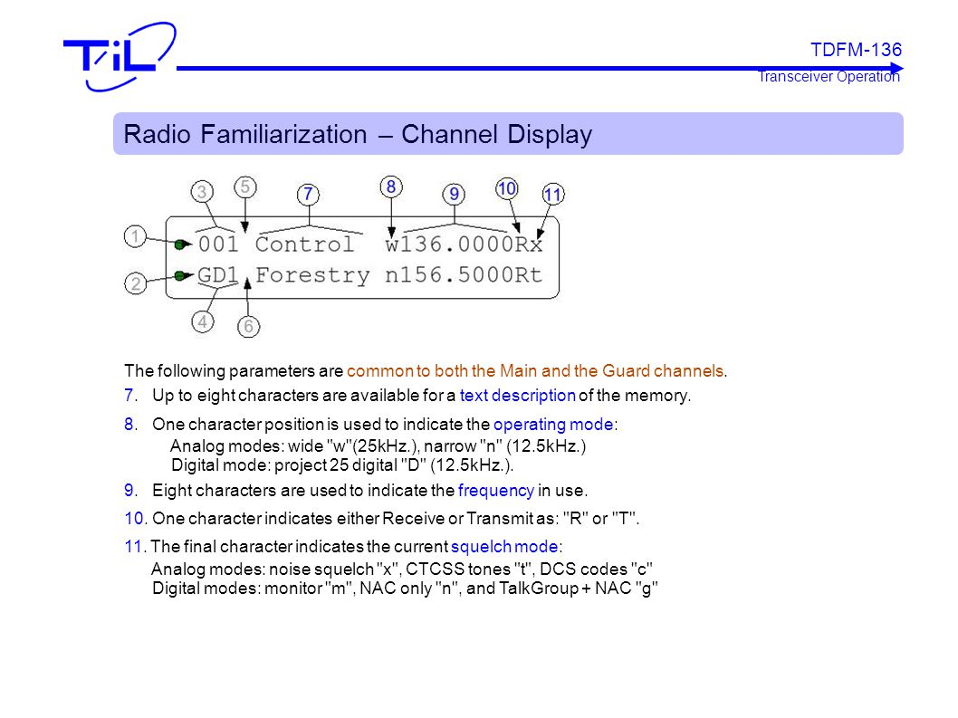 Radio Familiarization – Channel Display The following parameters are common to both the Main and the Guard channels. 7. Up to eight characters are ava