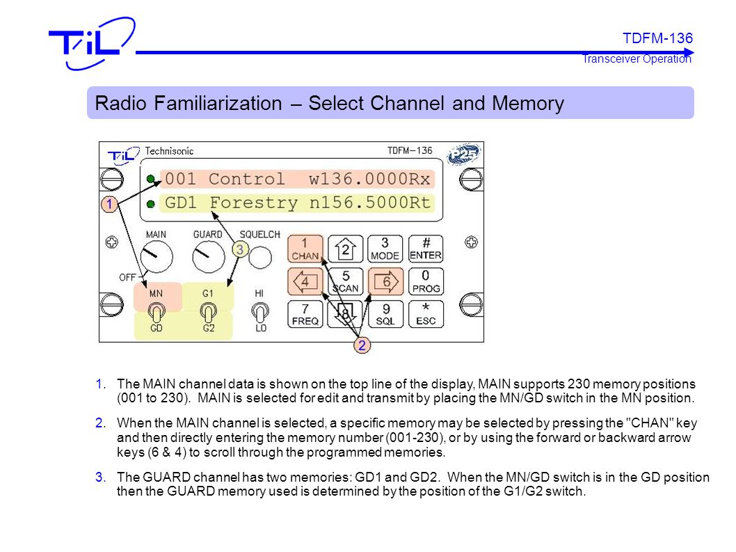 Radio Familiarization – Select Channel and Memory 1. The MAIN channel data is shown on the top line of the display, MAIN supports 230 memory positions