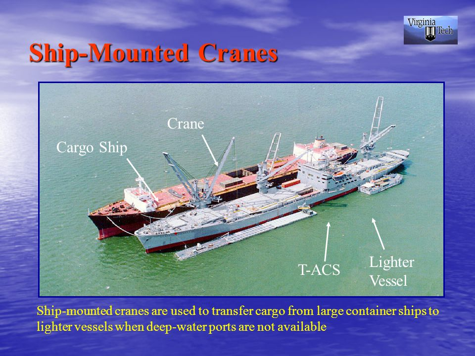 Cargo Ship Lighter Vessel T-ACS Crane Ship-Mounted Cranes Ship-mounted cranes are used to transfer cargo from large container ships to lighter vessels when deep-water ports are not available