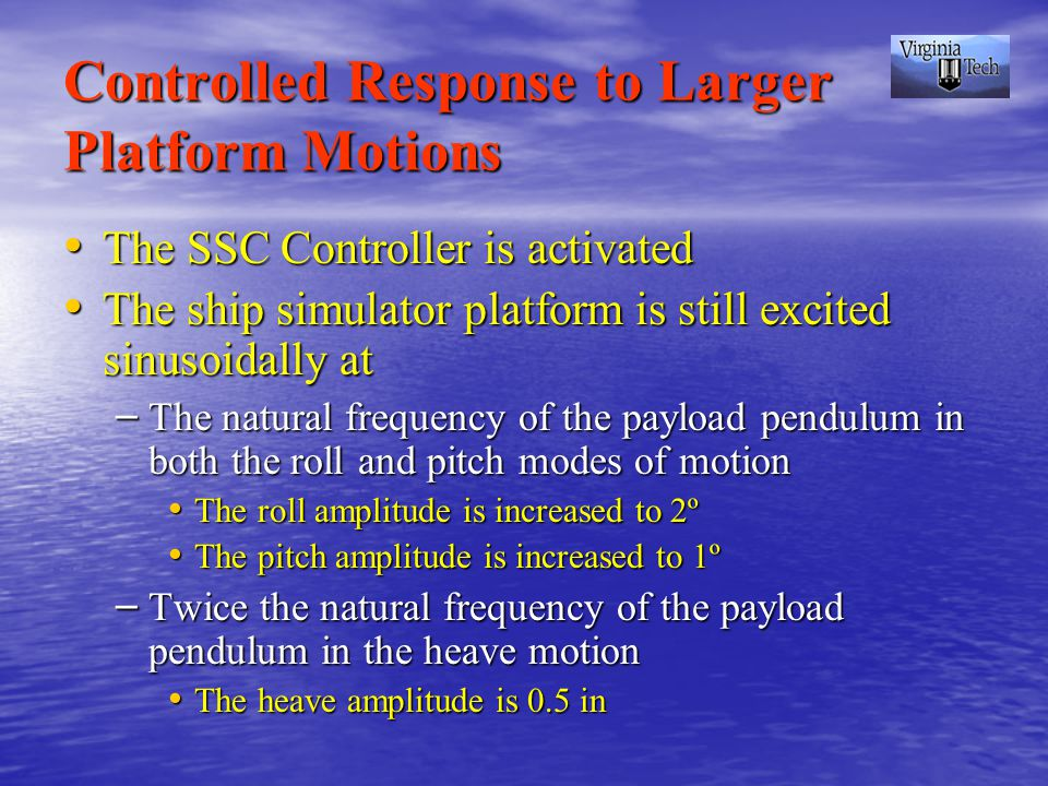 Controlled Response to Larger Platform Motions The SSC Controller is activated The SSC Controller is activated The ship simulator platform is still excited sinusoidally at The ship simulator platform is still excited sinusoidally at – The natural frequency of the payload pendulum in both the roll and pitch modes of motion The roll amplitude is increased to 2º The roll amplitude is increased to 2º The pitch amplitude is increased to 1º The pitch amplitude is increased to 1º – Twice the natural frequency of the payload pendulum in the heave motion The heave amplitude is 0.5 in The heave amplitude is 0.5 in