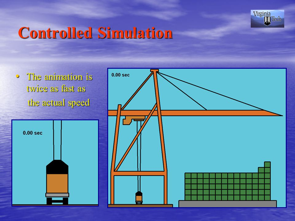 Controlled Simulation The animation is twice as fast as The animation is twice as fast as the actual speed the actual speed